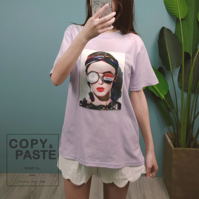 Copy&Paste【現貨】韓製.立體3D眼鏡歐美髮帶紅唇女孩短袖T恤上衣 紫色 韓國設計款 新品特價 休閒寬鬆 實拍