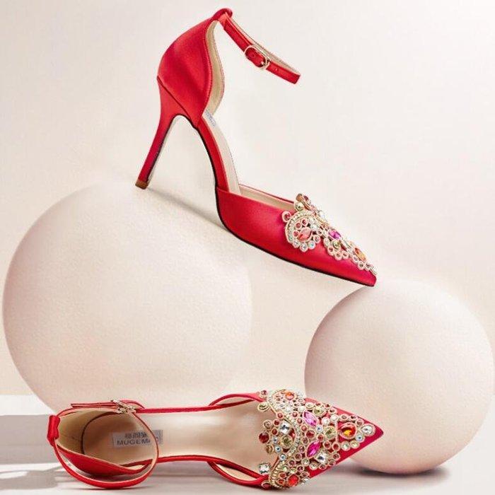 婚鞋 新款秋季秀禾紅色高跟鞋 細跟尖頭水晶結婚一字扣新娘鞋—莎芭