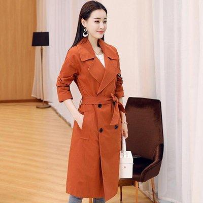 春季新款時尚簡約風衣女中長款韓版學生收腰顯瘦氣質淑女外套