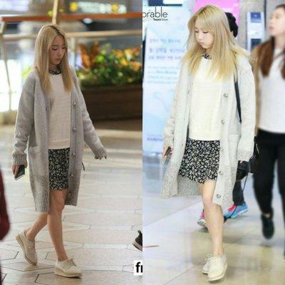 少女時代 金泰妍  太妍 機場 同款 假兩件針織拼接雙層連身裙白色斷貨