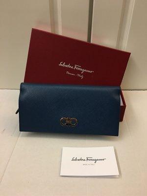 🈹️🈹️1880 100% NEW Salvatore Ferrag藍色真皮長身錢包 100%真貨 ($4900包郵,不退換)