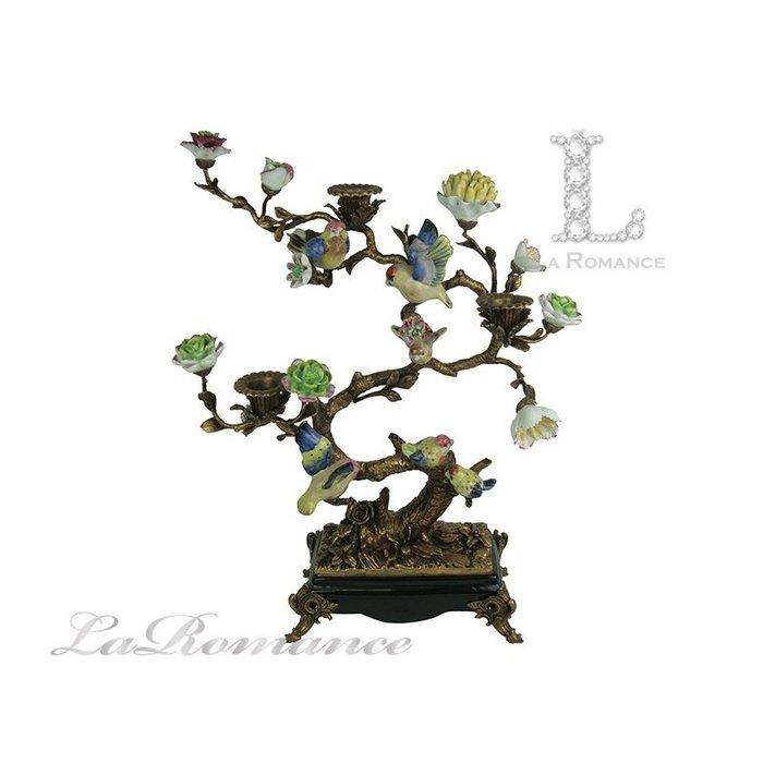 【芮洛蔓  La Romance】 美國 Castilian 純銅陶瓷手繪樹枝鳥燭台 / 擺飾