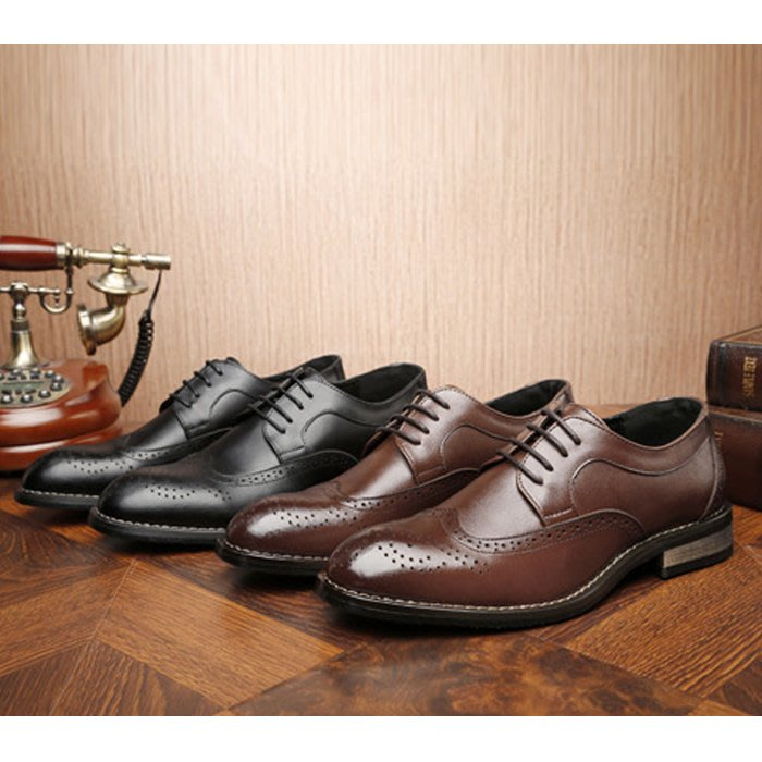 『老兵牛仔』MP-222大尺碼英倫風商務布洛克雕花復古潮鞋/二層牛皮/時尚/彈力/耐摩/個性