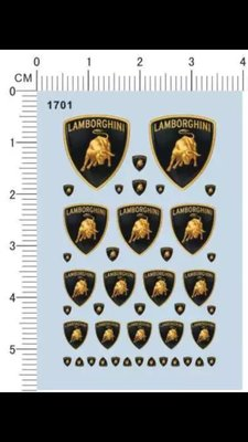 1701-12912 Lamborghini logo 藍寶堅尼 公路狂牛 模型車水貼紙