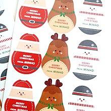 Osmileooo-5張4元 聖誕節卡通貼紙 萌萌聖誕老人馴鹿造型封口貼 禮品包裝貼