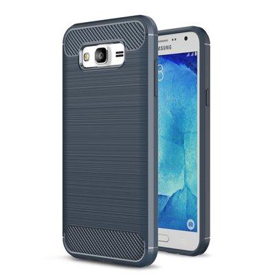 Samsung Galaxy J7(2015)碳纖維手機殼 手機套 J700 全包邊 保護殼 TPU 軟殼 寶藍色