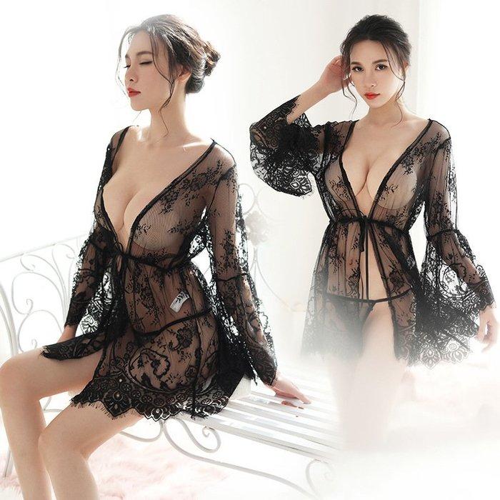 青木居家情趣內衣睫毛蕾絲睡袍套裝性感透明睡衣薄款短小胸睡裙情調伊人騷