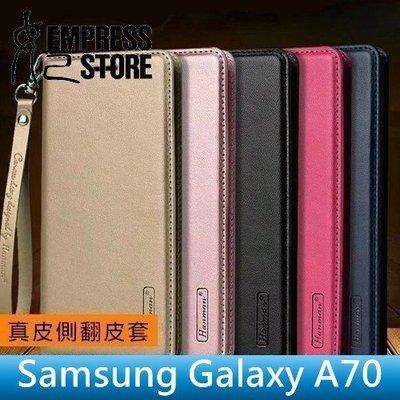 【妃小舖】Hanman/韓曼 三星 Galaxy A70 真皮/皮紋 插卡/磁吸 支架 皮套/保護套/手機套 附掛繩