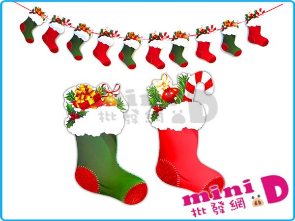 聖誕襪(紙)橫旗/10面 #103 聖誕襪 紙製 橫旗 串旗 裝飾 布置 玩具批發【miniD】[760250001]