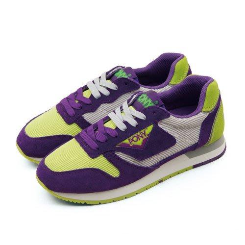 利卡夢鞋園–PONY 美式復古慢跑鞋--PONY 72 系列--紫灰綠-43W1PO61PP-女-7.5(24.5)號