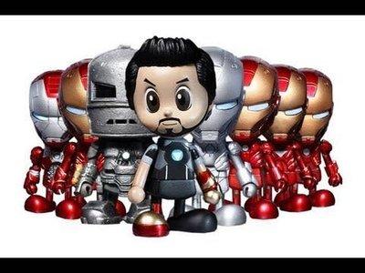 全新未開Hottoys Cosbaby Ironman Tony Stark Mark I MK 1 2 3 4 5 6 7 Hall of armor 格納庫