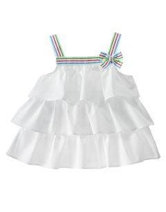 (((出清特價))) 全新 ~ GYMBOREE 天使白彩帶蝴蝶結蛋糕裙上衣 (12yrs)