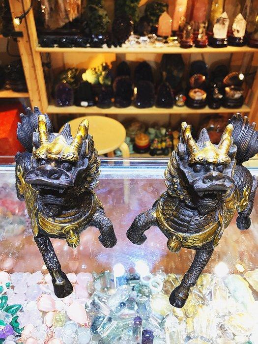 (上品堂)頂級銅雕麒麟大對,只給第一標
