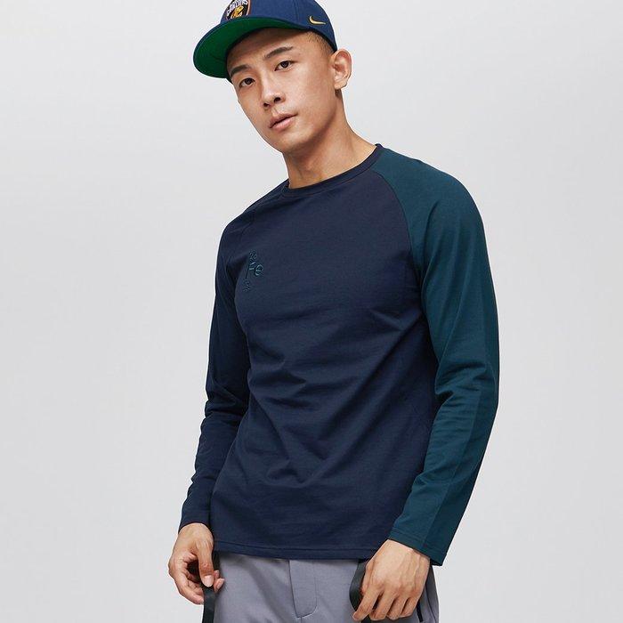 【OTOKO Men's Boutique】固制:長絨棉單袖拼色長袖/深藍身綠袖(台灣獨家代理)