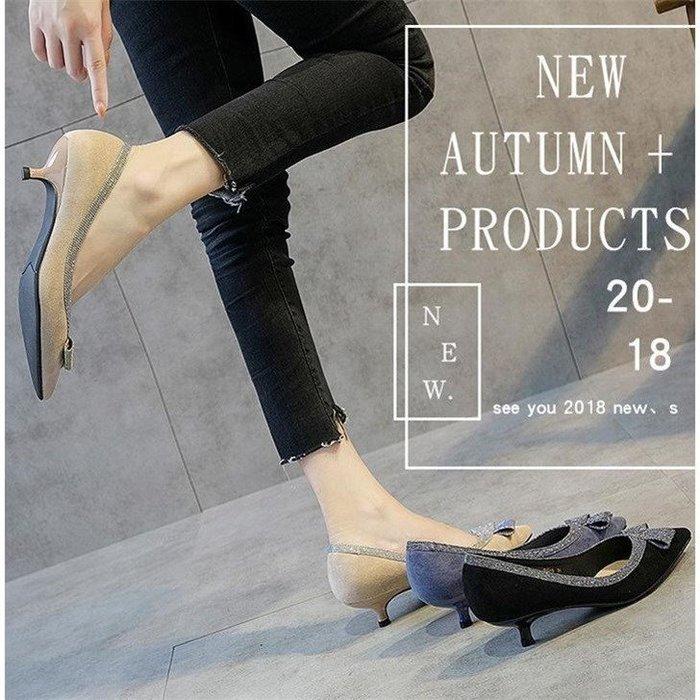 「免運」高跟鞋小跟單鞋女新款3CM尖頭細跟高跟鞋蝴蝶結藍色低跟韓版伴娘鞋 『菲菲時尚館』