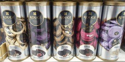 ROUGE 杏仁黑巧克力/花生白巧克力/蓮花脆餅牛奶巧克力/無花果巧克力/杏仁牛奶巧克力 250g/罐 產地:杜拜
