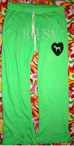 哈美族 全新 Victoria's Secret 維多利亞的秘密 PINK系列 綠色鬆緊 運動褲/瑜珈褲/休閒褲 xs