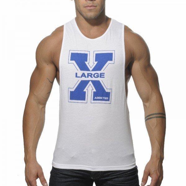 鯊魚線款男背心XLARG圖樣青春洋溢莫代爾棉材質夏天透氣不悶熱~白/黑/藍/紅共4色~M/L/XL~219元