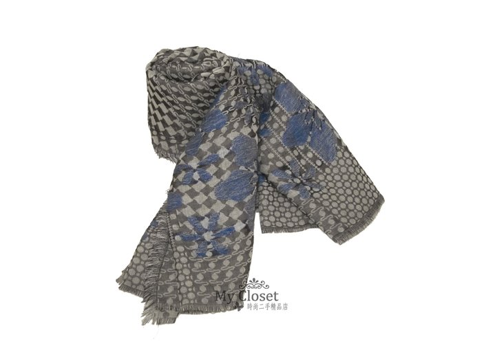 MY Closet 二手名牌 ALEXANDER MQUEEN 全新灰藍色大圍巾