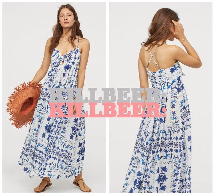 KillBeer:波希米亞嬉皮風之 歐美復古法藍瓷拼貼中國風圖騰印花低胸綁帶吊帶棉麻連身裙長洋裝061606