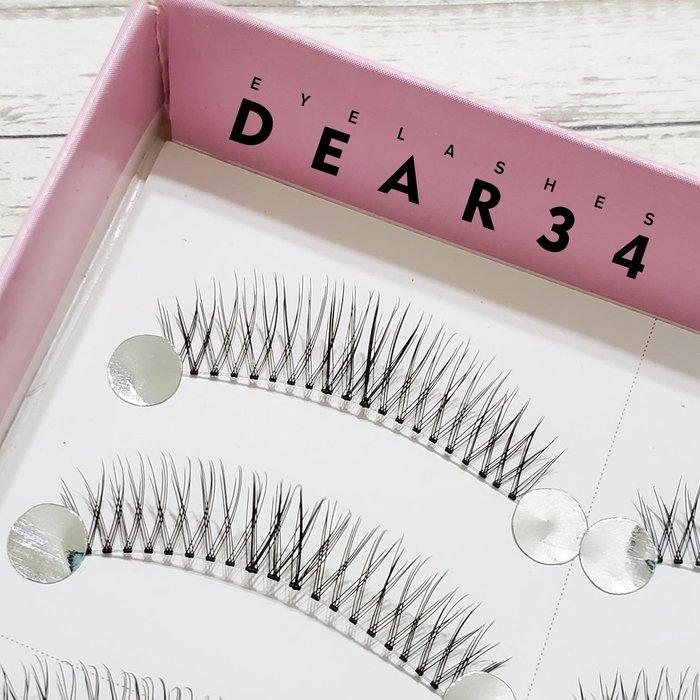 《Dear34》極細磨尖05透明梗眼中長V形交叉根根分明眼中加強一盒十對價