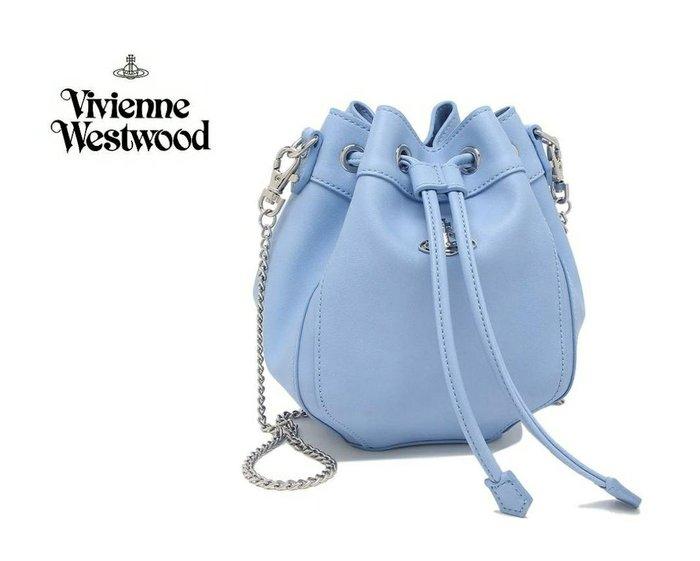 Vivienne Westwood ► ( 淺藍色×金屬銀色土星 ) 真皮 銀鍊 肩背包 斜背包 側背包|100%全新正品|特價