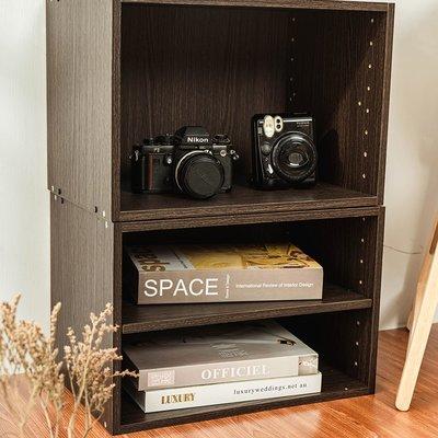 空櫃 書櫃 置物櫃 二層收納空層櫃-層板可抽-深胡桃木色-2入組【MM-JS3303_JS3303A】