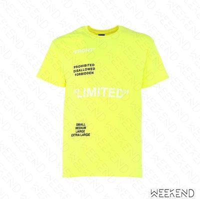 【WEEKEND】 TABOO Limited 文字 短袖 T恤 上衣 黃色 男女同款 19春夏