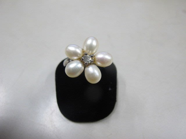 二手舖 NO.3973 天然珍珠 鑲鑽造型戒指 首飾飾品 全新