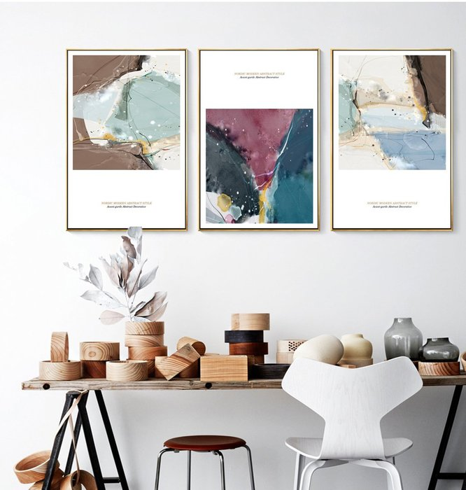 北歐現代簡約抽象色彩裝飾畫畫芯微噴打印畫心壁畫三聯掛畫(3款可選)