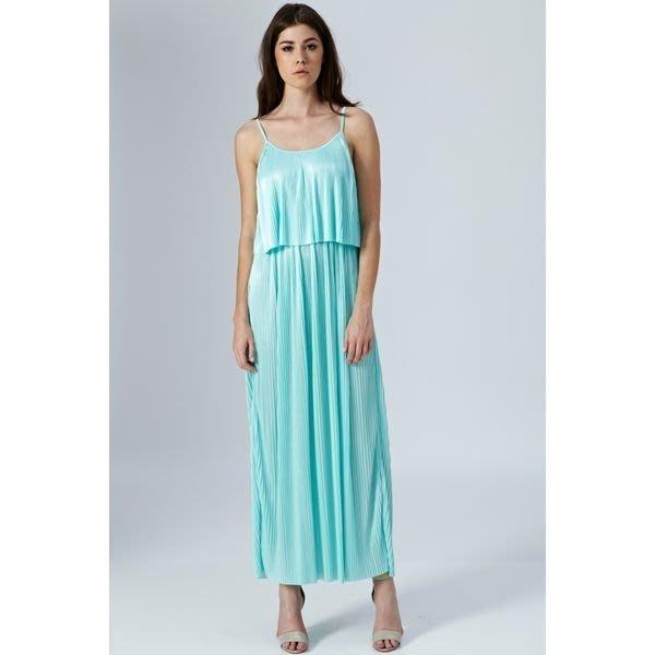 現貨uk10 冰沙糖果馬卡龍色系 薄荷藍綠色雪紡材質百摺女神款長洋裝禮服 英國品牌