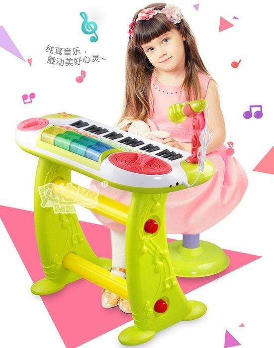 貝迪鷗兒童仿真電子鋼琴~仿真教學鋼琴~附琴椅+麥克風~可接MP3◎童心玩具1館◎