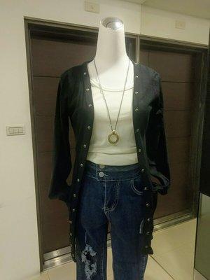 琳達購物中心-實品拍攝-秋裝針織百搭鉚釘開衫薄款黑色長外套-230元