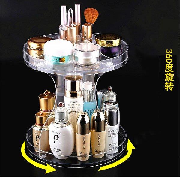 5Cgo【鴿樓】會員有優惠  536445355147 亞克力透明化妝品收納盒360度旋轉 桌面口紅彩妝收納整理歐式