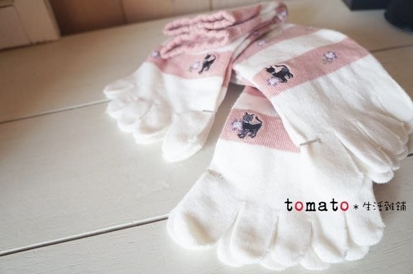˙TOMATO生活雜鋪˙日本進口雜貨棉質小花雙色條紋小黑貓五指襪