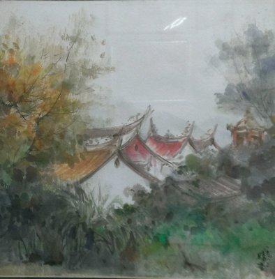"""裕山[陶&茶]"""" 藝術.民藝.茶葉.茶器.-- 陳陽春老師--水彩作品--古厝(45*45公分)"""