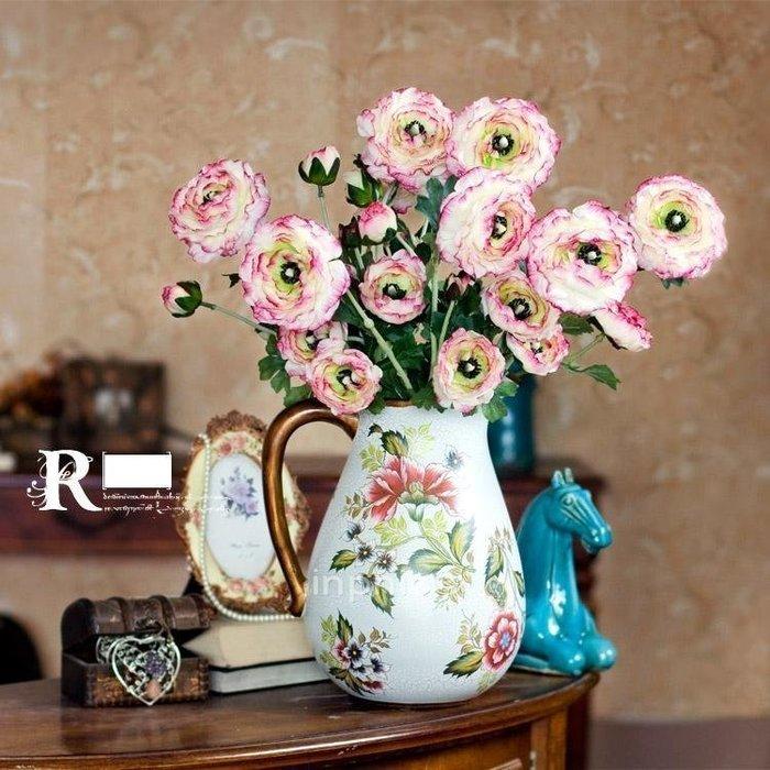 INPHIC-歐式田園露蓮手感千層花手繪花壺陶瓷花器 仿真花藝套