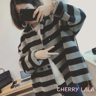 CHERRY LALA 韓國單實拍70%羊毛品質貨寬鬆條紋翻領小開衫羊毛外套 -淺灰 N1242  韓妮 chic