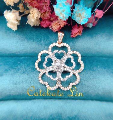 可旋轉愛心五葉幸運草鑽石墜子墜飾(鑽石85分)附保卡、禮盒、提袋。