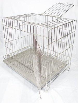 2尺固定式加粗專業用(304#級)(雙門上掀)(附抽取式加粗加密底網)不鏽鋼/不銹鋼白鐵兔籠/貓籠/狗籠/寵物籠