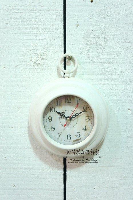 ~*歐室精品傢飾館*~美式鄉村 鐵製 洗白 冰吸 磁鐵 圓形 小白鐘 時鐘 掛鐘 居家 裝飾 擺飾~新款上市~