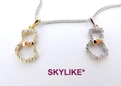 *SKYLIKE* 最可愛-韓國進口墜585/14k白K金、黃K金、玫瑰金亮面精鑲小熊鋯石墬子,PJ-30716