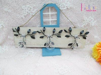 ☆[Hankaro]☆簡約歐式鐵藝造型木板壁掛三瓶款水培玻璃花器(樣品出清)