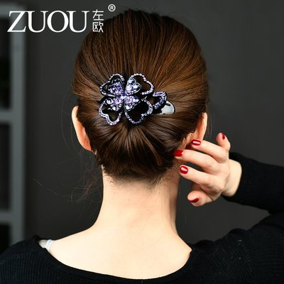 Lissom韓國代購~髮卡女頭飾后腦勺頭髮成年髮夾三齒夾盤髮大號鴨嘴夾髮飾頭花飾品