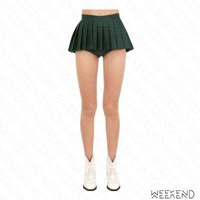 【WEEKEND】 PUSHBUTTON 千鳥紋 百褶 假兩件 超短裙 含內裡熱褲 綠色 黑色 折扣
