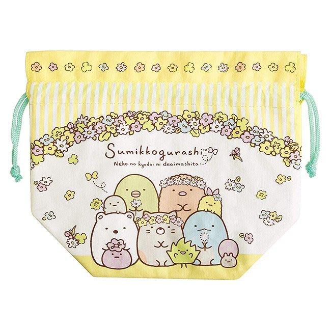 餐袋 SAN-X 角落生物 貓咪朋友 花叢 條紋 帆布 束口 保溫 保冷袋 便當袋 正版日本進口授權