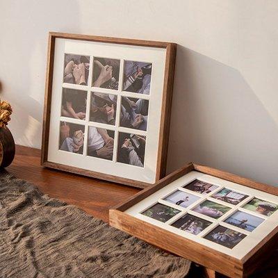 相框黑胡桃實木質九宮格相框掛墻免費洗照片做成相框擺臺藝術照裝裱框