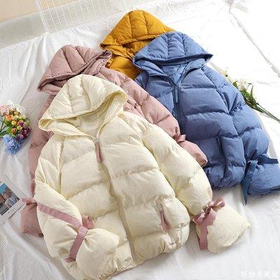 好物多商城 連帽棉服女冬季新款韓版加厚保暖面包服系帶時尚休閑棉衣A112