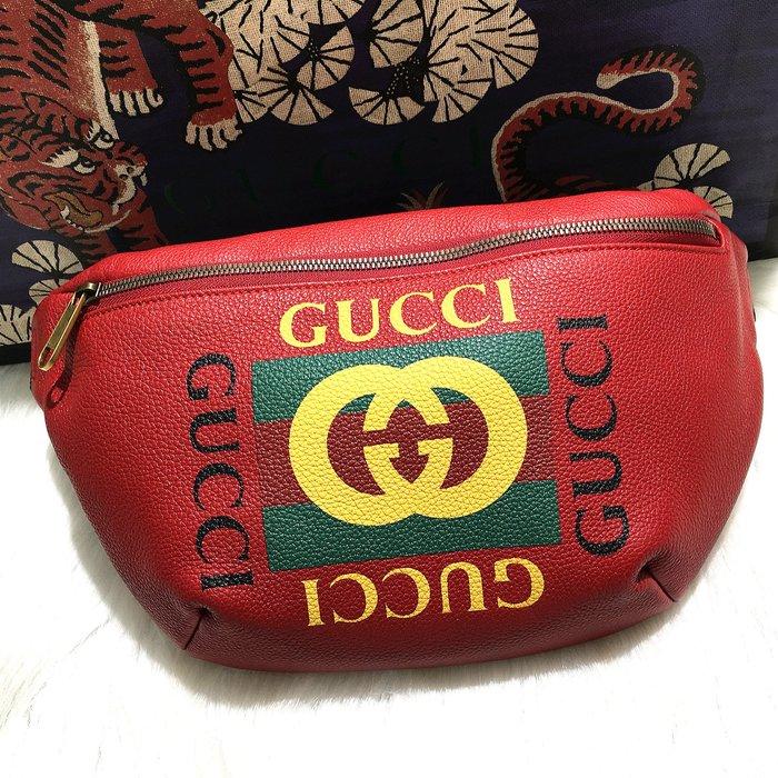 二手旗艦 GUCCI 530412 紅色 牛皮 綠紅綠 織帶 胸口包 腰包 (公益店)03801