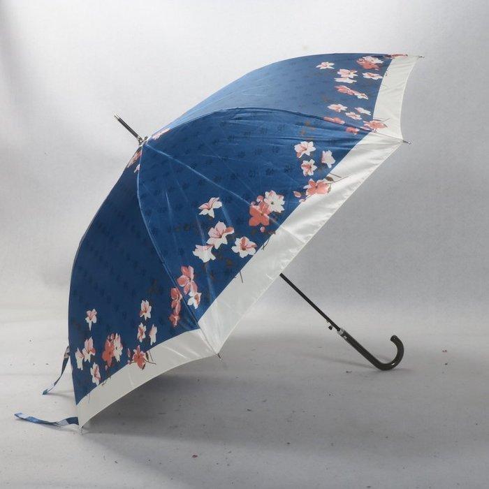 奇奇店-皮柄復古亮亮傘布暗花之日式和風喇叭花女士長柄自動晴雨傘#加固 #小清新 #晴雨兩用